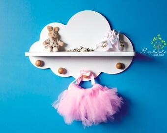 Cloud shelf with four knobs, Shelf For Baby Nursery, Cloud Decor