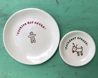 Cookies for Santa Plate, Reindeer Treat Plate, Holiday Cookie Dish, Reindeer Treat Dish