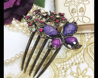 Exquisite Austrian Crystal Purple Butterfly Hair Comb, Hair Pin, Christmas Present, Bridesmaid Gift, Birthday Present #A173