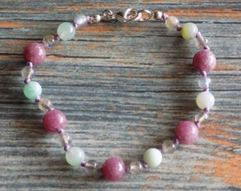 """7.75"""" Euphoric Delight Healing Gemstone Bracelet Knotted on Nylon with Sterling Silver Findings, Healing Crystals, Infused with Intention"""