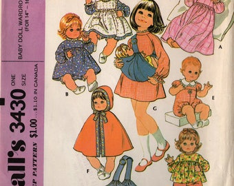 "1972 BABY DOLL WARDROBE & Carrier 14""-16"" Pattern McCalls #3430 Nightgown Dress Rompers Cape Pinafore Pants Top Vintage Sewing"
