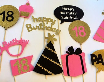 Photo Booth - Party Decorations - Photo Props - Birthday Party - 40th 18th 21st 25th 30th 50th 60th birthday - Bridal Shower - Gold - Party