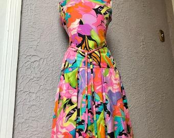 60's Vintage Mod Silk Floral Dress Sm/Med