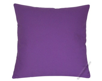 Purple Violet Solid Decorative Throw Pillow Cover / Pillow Case / Cushion Cover / Cotton  / 20x20""