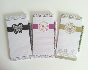 Notepad magnetic and flower with matching pen