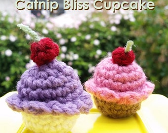 Mini Crochet Cupcake with Cherry > Cat Toy > Crochet > Gifts for Purr