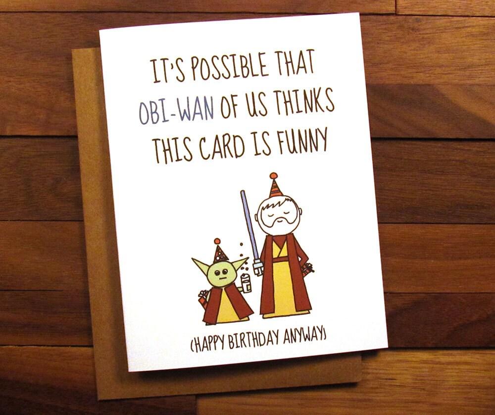 Funny Birthday Card Star Wars Birthday Card With Drink