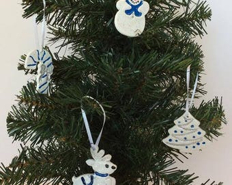 Christmas Ornaments - Christmas Clay Ornaments - Blue and Silver Christmas Ornaments - Snowman - Christmas Tree - Reindeer - Candy Cane