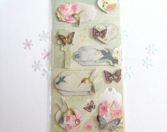 Map of 11 Stickers 3D hummingbirds and birds theme - scrapbooking cards decor