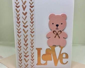 Valentines Day, Valentines Day Gift, Valentines Handmade Card, Valentines Handmade Card, I Love You Card, Love You Card, Teddy Bear Card