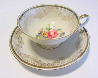 Alka Floral Tea Cup and Saucer Set From Bavaria