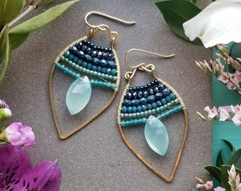 Beaded Chalcedony Petal Earrings in Gold >> Aqua Green Chalcedony Gems w/Blue & Turquoise Crystals and Apatite Gems - Gemstone, Boho Luxe