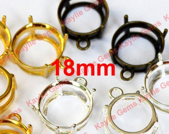 18mm Pre Nutched 1 Ring Prong Setting Round Open Back Setting - 4pcs