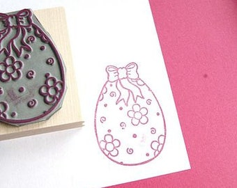 Floral Easter Egg Rubber Stamp  - Colouring In Rubber Stamp - Easter stamper - Easter Card - Easter Craft - Easter Card - Easter Gift