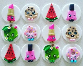 24 x Shopkins fondant cupcake toppers