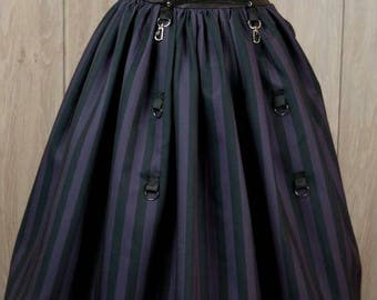 Black and purple stripe Steampunk skirt - Gothic Lolita Skirt