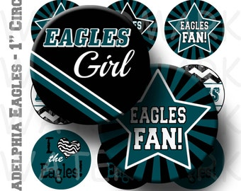 Eagles Football Team Bottlecap Images - 4 x 6 Digital Collage Sheet  - 1 inch Round Circles - INSTANT DOWNLOAD