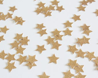 Gold Glitter Star Confetti/ 5/8 Inch Small / 200 Count/ Party Decoration/ Birthday/ Wedding/ Bridal Shower/ Baby Shower/ Table Confetti