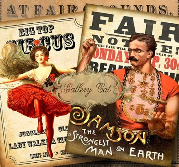 Vintage CIRCUS POSTERS I Digital Collage Sheet Large Printable Images For Scrapbooking Wood Sign Decoupage Iron On Transfer GalleryCat CS210 From