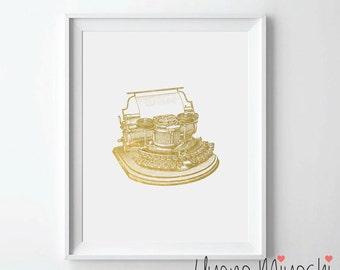 Vintage Typewriter IV Gold Foil Print, Gold Print, Typewriter Gold Print, Typewriter Art Print, Vintage Typewriter Gold Foil Art Print