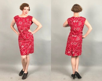 Vintage 1960s Dress | 60s Volup Red and White Handkerchief Print Shift House Day Dress with Pockets | Extra Large XL