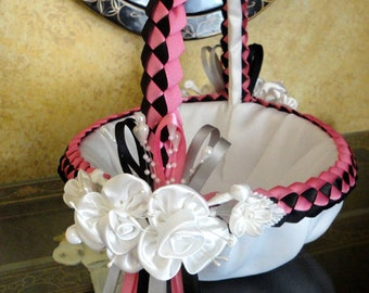 Wedding Flower Girl Basket, Flower Girl basket, Flower Baskets,  Bridal Basket, Flower Girl, Baskets, Basket, Custom Made to your Colors