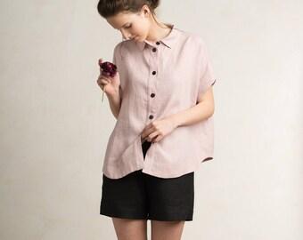 Linen shirt for woman, Loose fit women's shirt, Short sleeve shirt or blouse, Linen top women, Dusty rose top women, Linen women's clothing