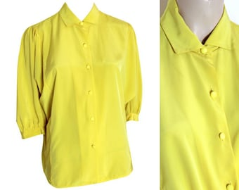 80s Alexane Bright Yellow Batwing Blouse