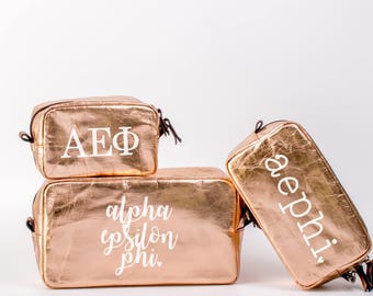 Alpha Epsilon Phi Cosmetic Bag Set / AEPhi Travel Bag / Sorority Cosmetic Bag Set of 3 / AEPhi Sorority Makeup Bag / Pencil Bag / Bid Day