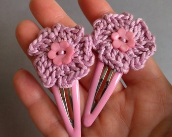 Set of TWO Crochet Pink flower hair clips for children, Crochet Pink Flower Clip, Crochet Hair Clip, Crochet Flower Clip