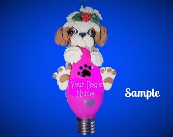 Tan and white Shih Tzu Dog Christmas Holidays Light Bulb Ornament Sally's Bits of Clay OOAK PERSONALIZED FREE with dog's name