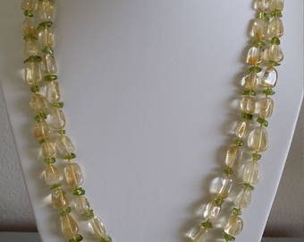 Double-strand Graduating Citrine with Peridot Necklace