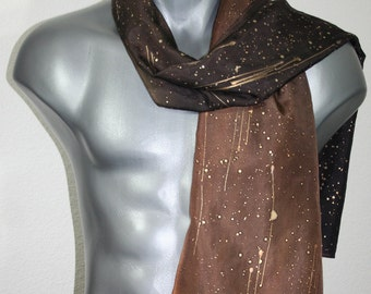 Brown Men's Scarf. Brown Hand Painted Silk Scarf. Handmade Men Scarf CHOCOLATE STARS. 11x60. Gifts for Men. Hand Dyed Scarf. Gift Wrapped