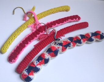 Fun Vintage Four (4) Hanger Set Mismatched Crocheted Hangers / Yellow Pink Red White Blue