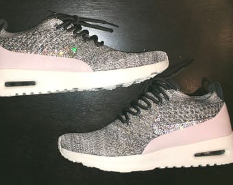 crystal Nike Air Max Thea Flyknit Bling Shoes with Swarovski Crystal  Women s midnight Fog Siltstone Red 0bde8118b