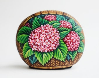 Pink lily Flower stone painting, Original painting, Rock art, Unique, Acrylic colours, Special gift for special one.