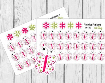 Butterfly Planner Stickers in Pink, White and Green