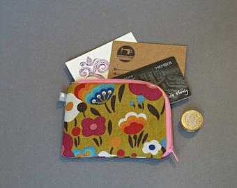 Floral Cotton Linen Coin Purse - Small Coin Purse - Flowers Coin Purse - Small Zipper Pouch