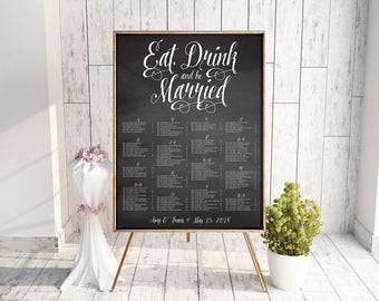 Wedding Seating Chart, Eat Drink and Be Married Seating Chart, Seating Poster, Rehearsal Dinner Seating Chart, Bridal Shower, Black, Chalk