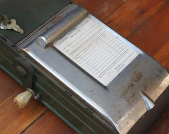 Antique Store Receipt Box Printer Machine & Cash Box from Clock Work Company with Unused Receipts, Receipt Generator