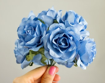 2 INCH Paper Roses / Lovely Light Blue One Dozen Paper Flowers / With Wire Stems / Bridal / Wedding Bouquet / Baby Shower / 12 Flower Set