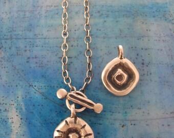 Sterling silver pendant necklace, sterling silver necklace, Sterling silver cable chain, gift for her, petroglyph design, petroglyph pendant