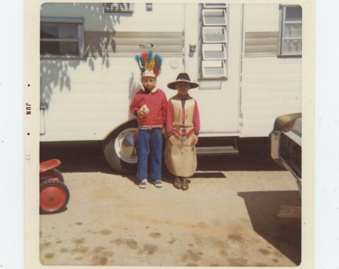 Vintage Snapshot Photo: Cowboys & Indians, 1972 [84662]