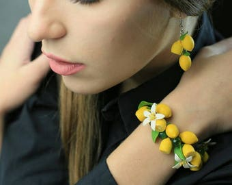 Lemon earrings and bracelet