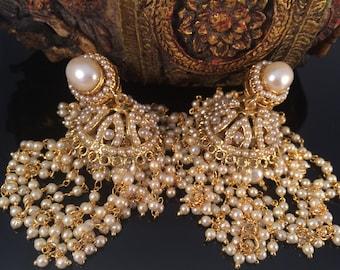 Gold JHUMKAS,bridal pearl earrings,Ethnic Jhaalar Pearl Jhumka earrings,Long Chandelier Earrings,wedding Jewellery TANEESI YJ448P
