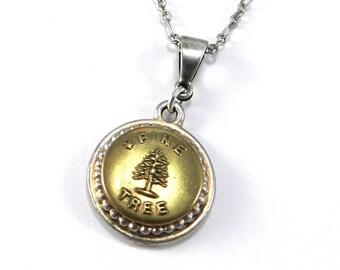 Pine Tree Necklace Necklace, Antique Train Button Necklace, Work Uniform Button, Train TRAVEL Adventure Jewelry by Compass Rose Design