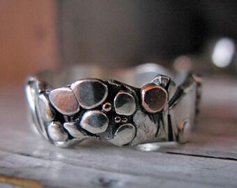 Mens Wedding Band Rustic Wedding Band Unique Wedding Band Pebble Ring Silver Handmade Wedding Ring Silversmith Pebble Ring OOAK Wedding Ring