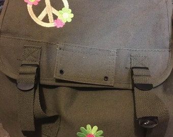 Girls Military style  backpack with embroidery. Authentic Military bag.
