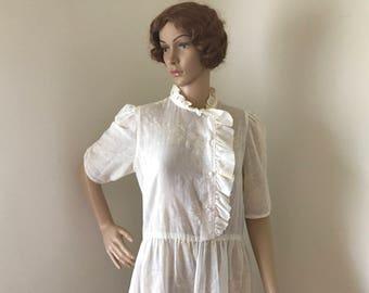 Women's 1970s 1980s Dress Cream Cotton Medium Large