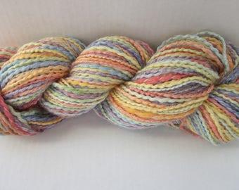 Hand Spun  Hand Dyed Merino Lambs Wool and Soy Silk Yarn (Spring Pastels) 176 yards